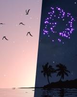 『夕暮れの太陽に渡り鳥が飛んで行くシーン』と『月夜に打ち上げ花火があがるシーン』とが交互に表示されます。
